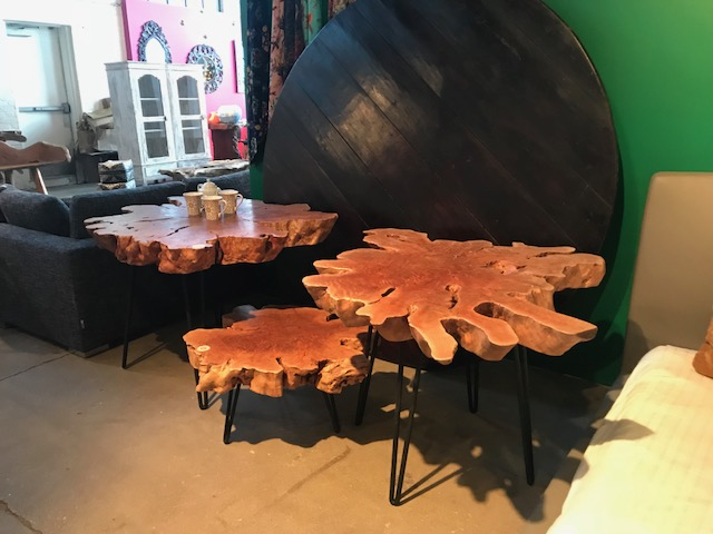 Exotic Lychee wood is the one of the newer materials to hit the world of live edge and it is causing a stir. This wood features exaggerated, highly unique live edge with warm tones. The metal bases of these beauties balance them out with a modern, clean element.