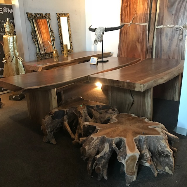 As usual, our live edge dining table game is on point. Beautiful, thick, long pieces of wood create these naturally sculpted pieces of functional art for the home.