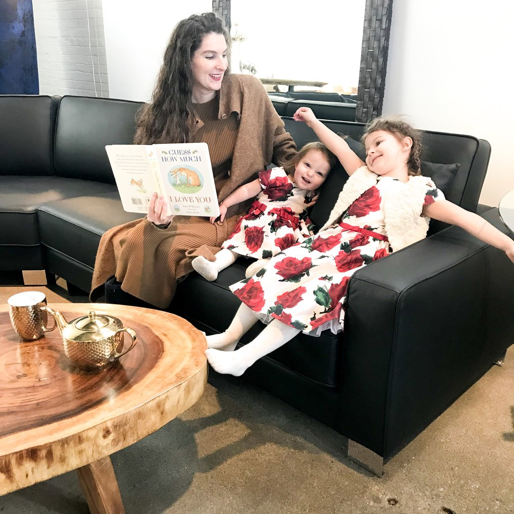 Valentine's Day Itinerary. Blue Moon Furniture store in winnipeg. Reading with the kids.JPG