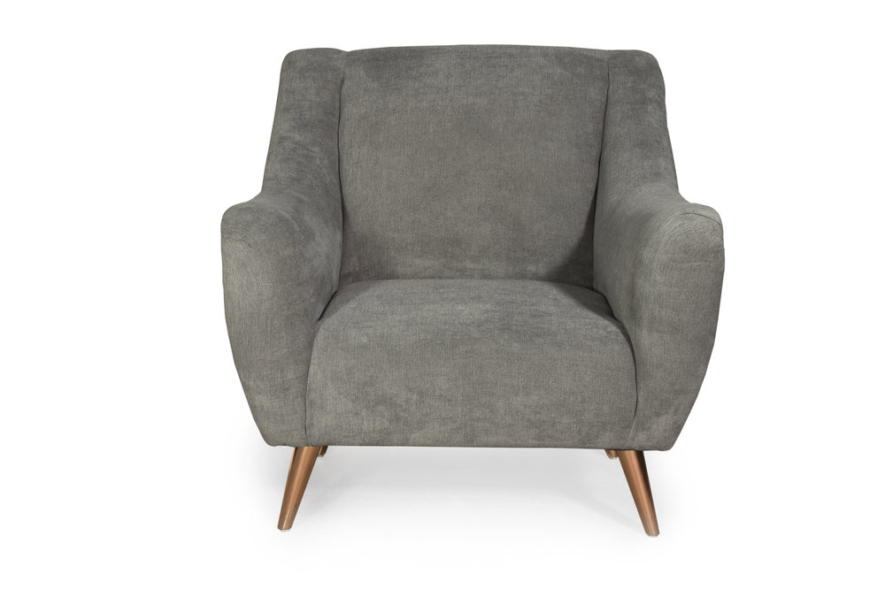 waterfront arm chair with modern rose gold legs. Blue Moon Furniture, luxury furniture store in winnipeg.