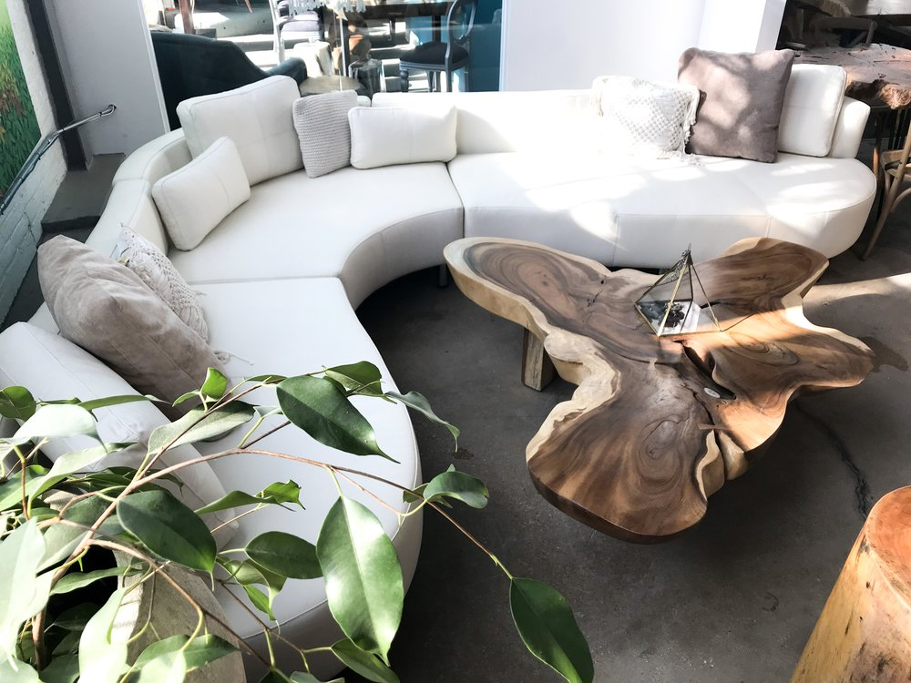 cocoon 2 sectional in white leather