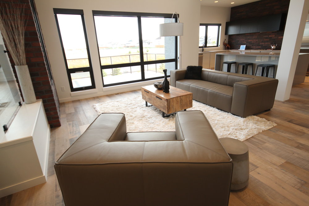 Beau monde leather sofa and chair