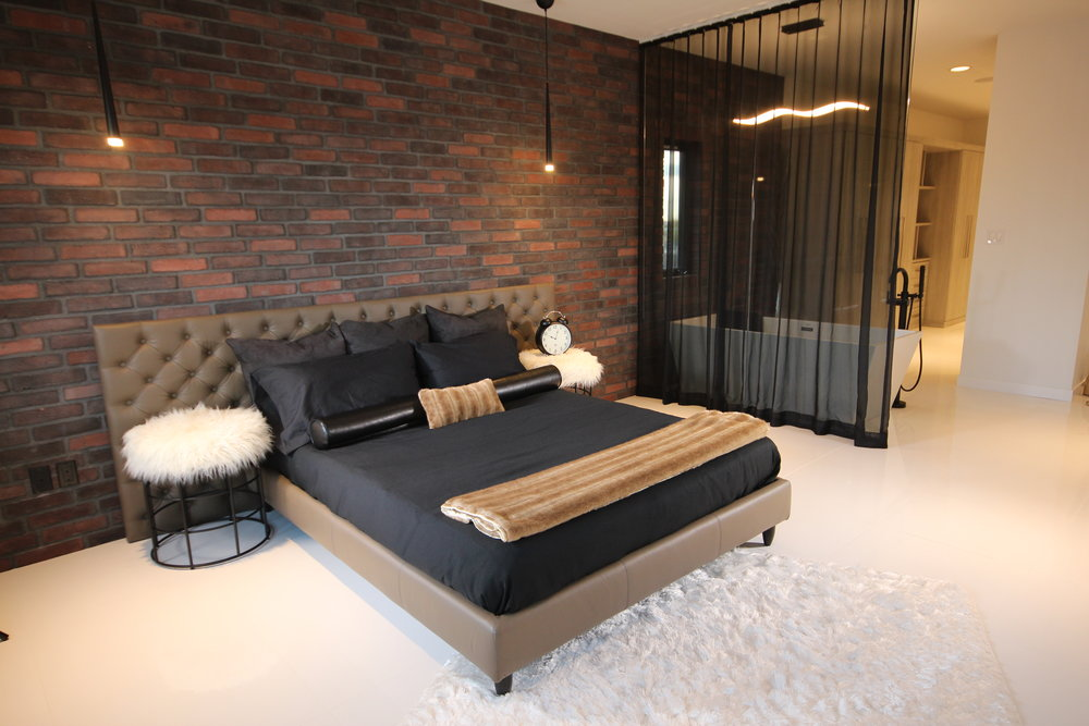 Mario platform bed in king size. Full leather bed. Modern bedroom