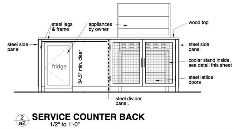 custom designed service counter.