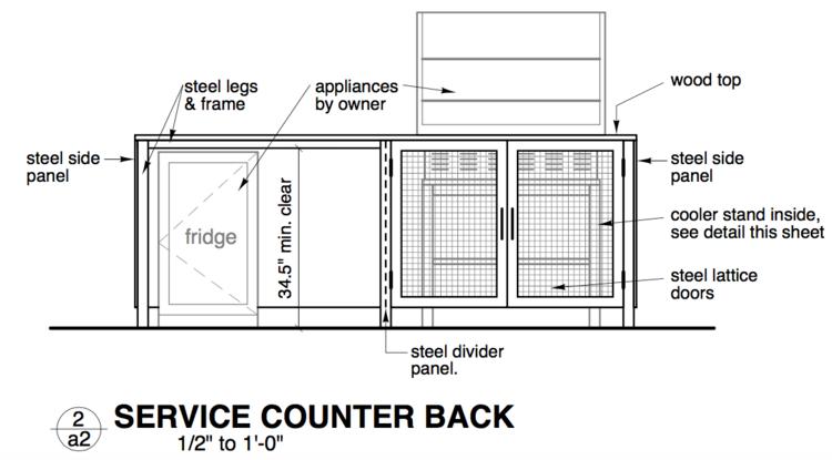 custom designed service counter.