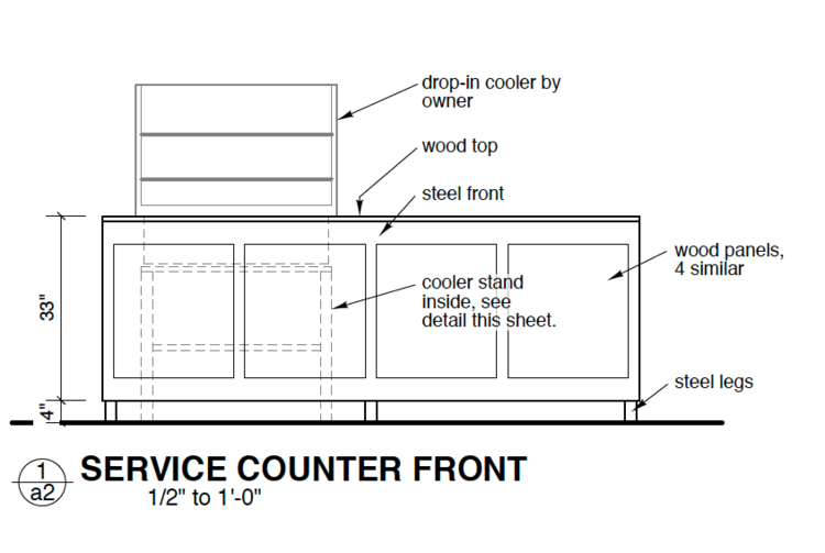 custom service counter, industrial