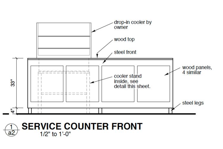custom service counter, industrial