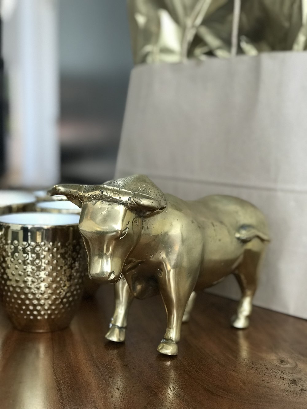 Winnipeg furniture store. Brass bull. Mother's Day gift guide