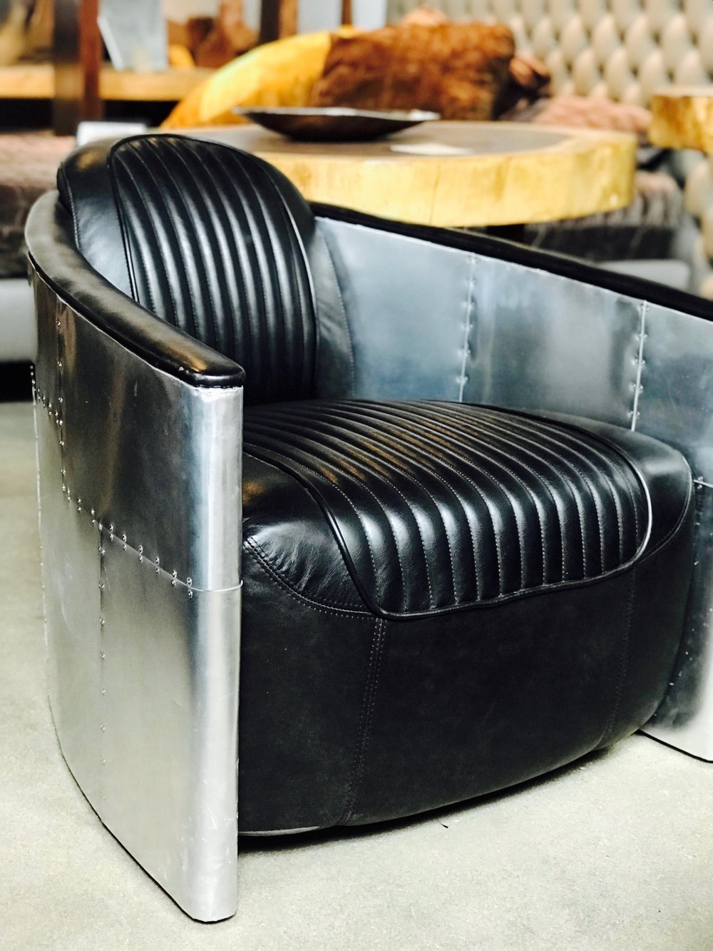 old tobacco aviator lounge chair in black leather. Blue Moon Furniture and decor store in winnipeg.jpg