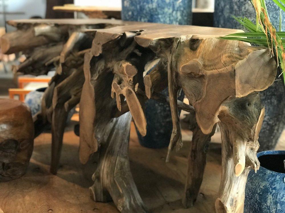 Blue Moon Furniture Store in winnipeg. Teak Root console Tables. Sculptural furniture.jpg