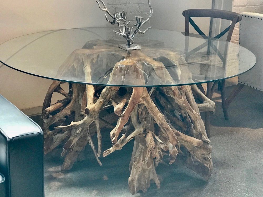 teak root dining table with glass top. Blue Moon Furniture store in winnipeg.jpg