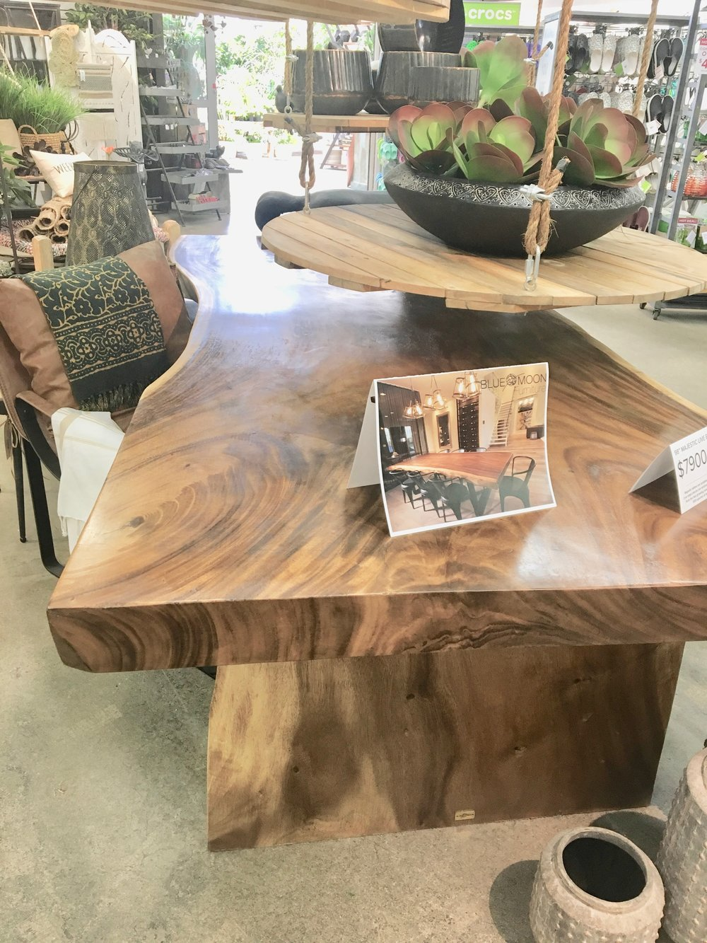 Majestic live edge dining table at Shelmerdine's garden centre. Blue Moon Furniture.jpg