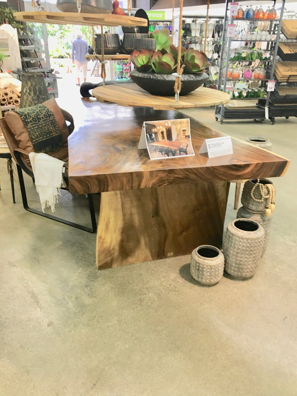 Majestic live edge dining table at Shelmerdine's garden center in headingley. Blue Moon Furniture in winnipeg.jpg