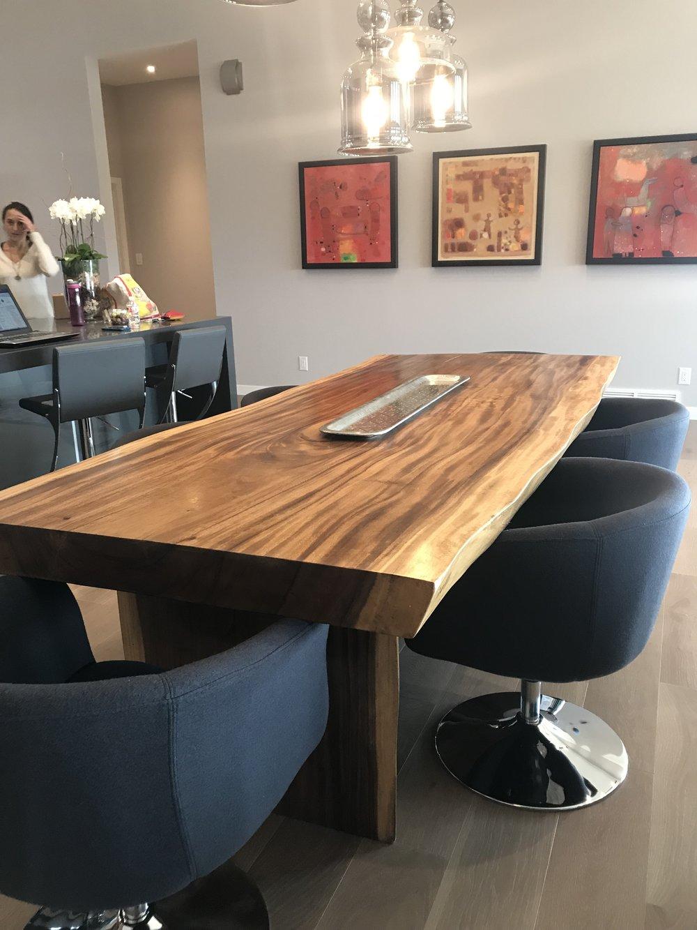 Huntington Homes Show home furniture. Blue Moon Furniture. Majestic Live Edge Dining table.