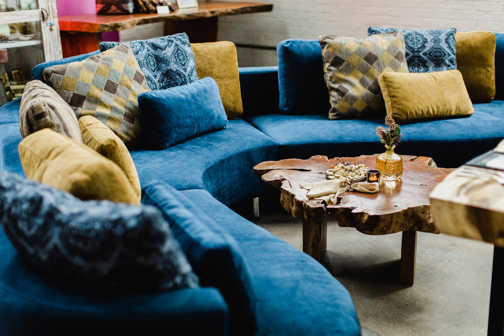 Home trend alert: coloured velvets. Cocoon 2 curvy sectional. Blue Moon Furniture store in winnipeg.