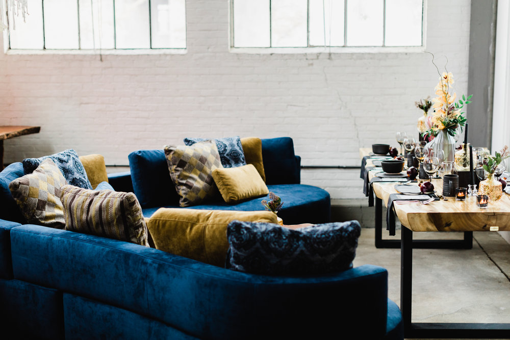 Cocoon 2 sectional in blue velvet. Curvy, rounded sectional.
