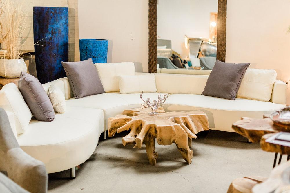 cocoon 2 sectional. Curvy, luxurious, modern designer furniture. Blue Moon Furniture store in Winnipeg.