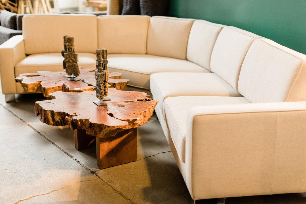 D10 sectional in linen. Designer upholstery furniture. Blue Moon Furniture store in winnipeg