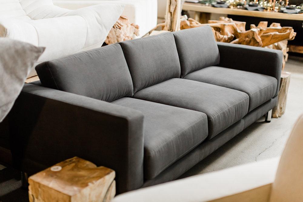 D2 sofa in grey with chrome leg. Modern designer furniture. Blue Moon Furniture