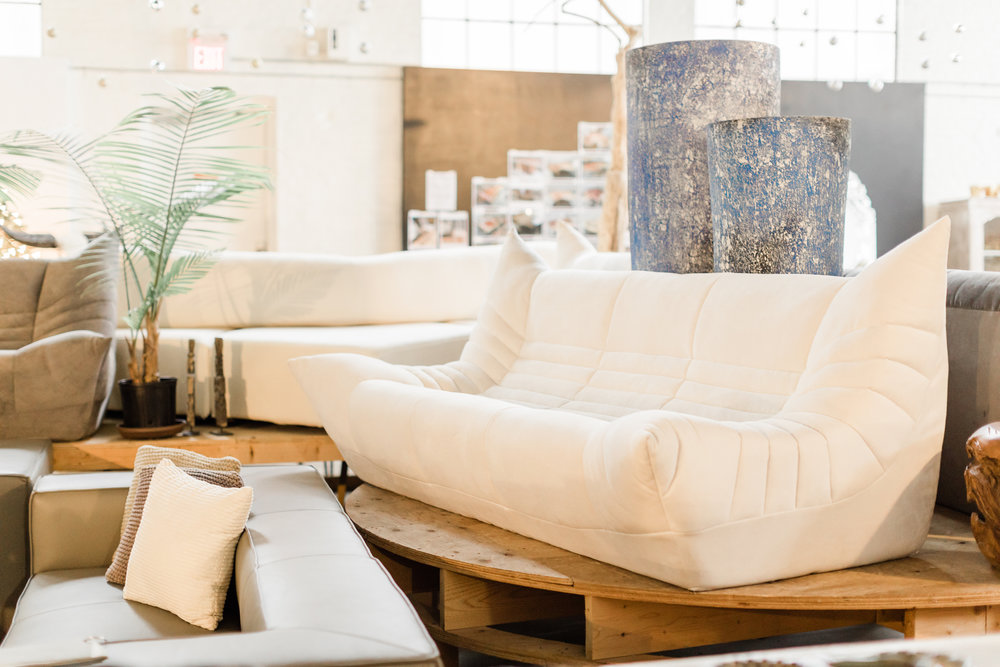 White Wolseley sofa. Blue Moon Furniture