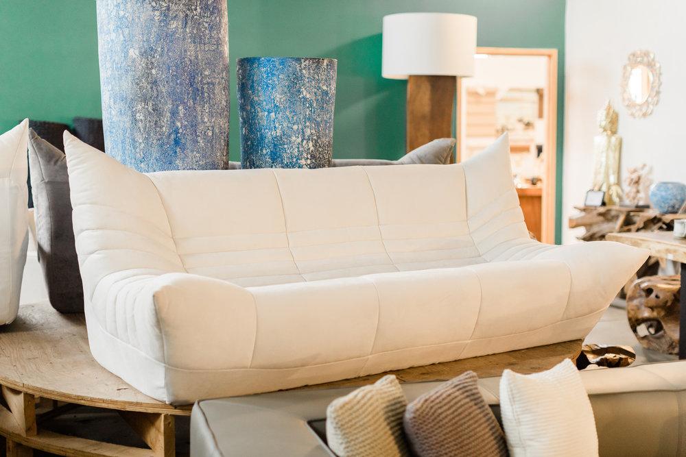 Wolseley Sofa in White fabric. Blue Moon Furniture
