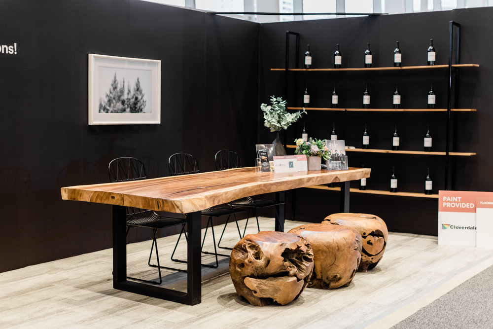 Winnipeg renovation show. The design studio. Blue Moon Furniture. Majestic Live Edge dining table. Wire chairs. Teak Root balls.