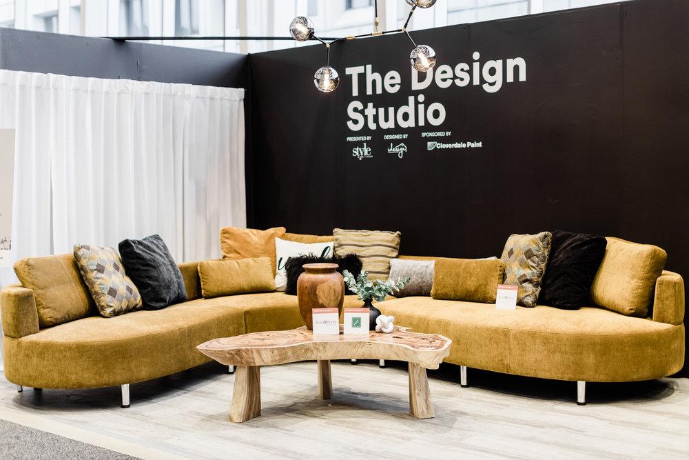 Cocoon 2 curvy section in bronze fabric. Blue Moon Furniture. Winnipeg Renovation Show 2019. The Design Studio