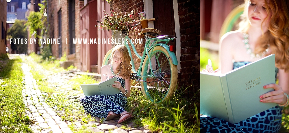 High School Senior writing journal outdoor senior session by Fotos by Nadine