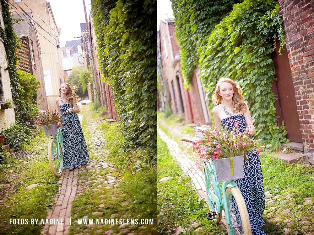 young lady with a beach cruiser in old town alexandria high school senior outdoor glam session