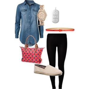 Black leggings, demin button up shirt, red belt, tan flats Necklace: Engraveable sterling silver tag by Stella & Dot (mine has my 3 kids initials on it, I love it!