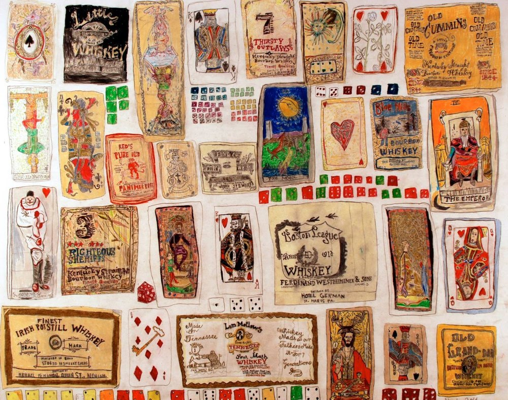 Tarot Cards, Playing Cards and Dice    2014   Pencil on Paper   19x24