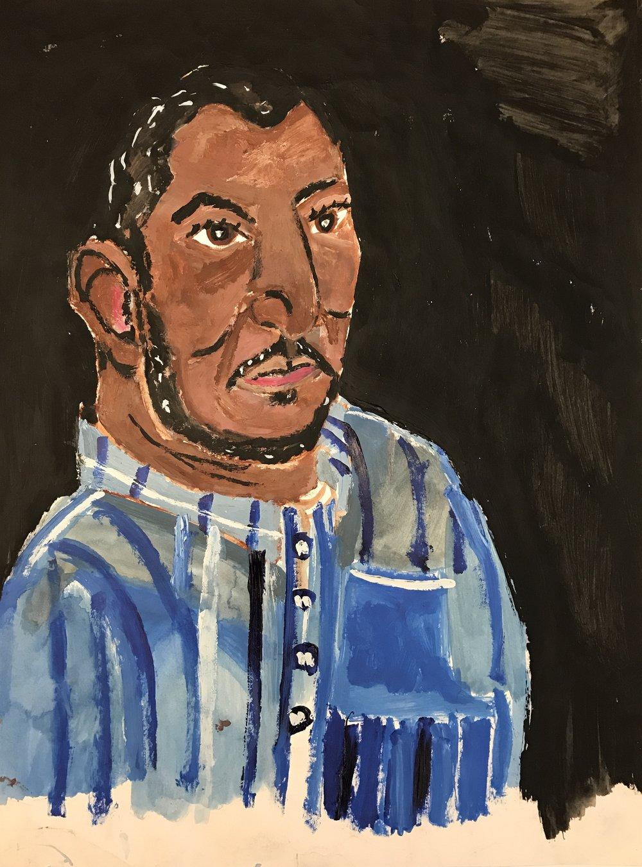 "Robert Latchman  Garrol Gayden (2016) Acrylic on paper, 24x18"""