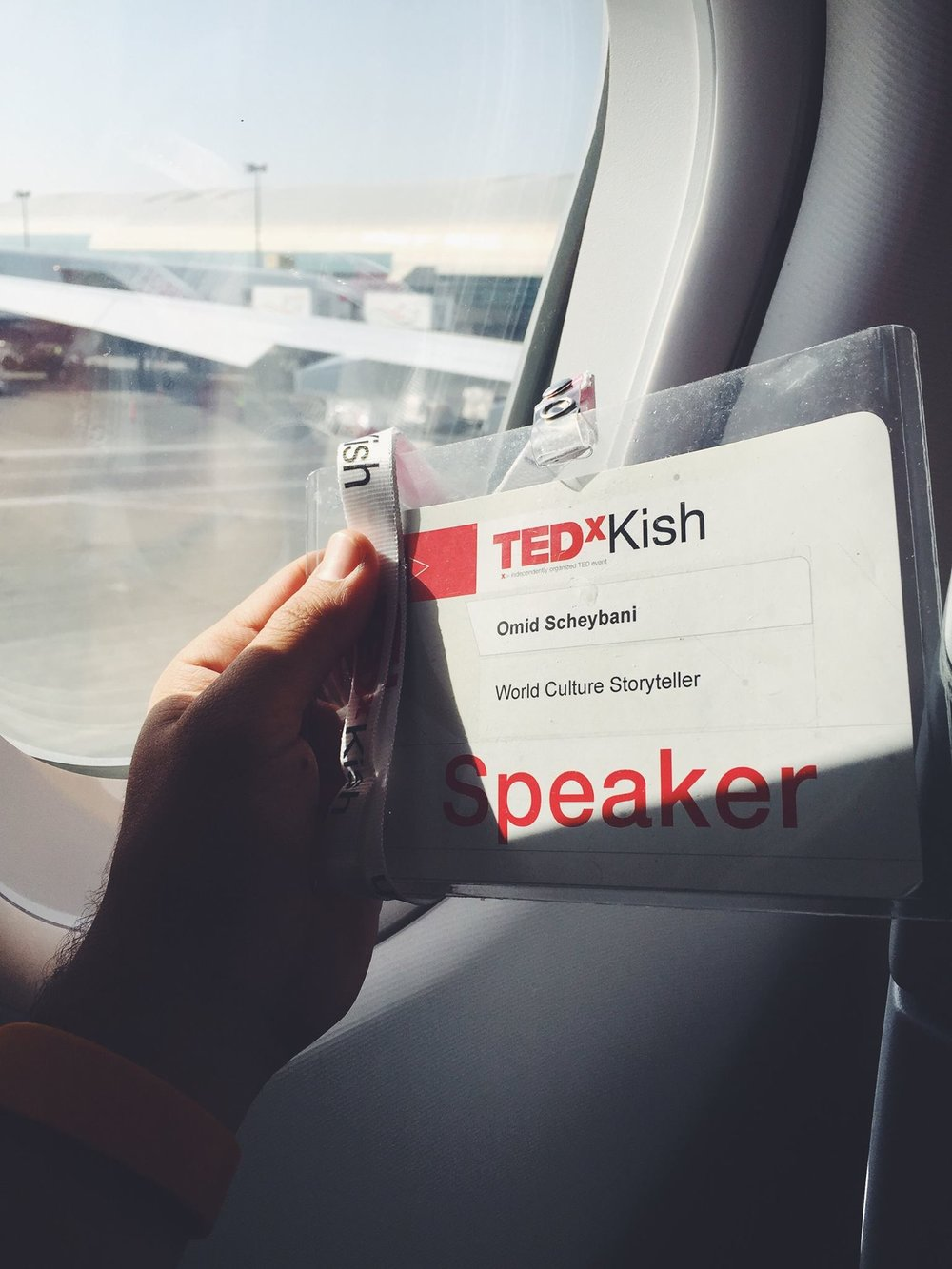 My speaker badge at TEDxKish
