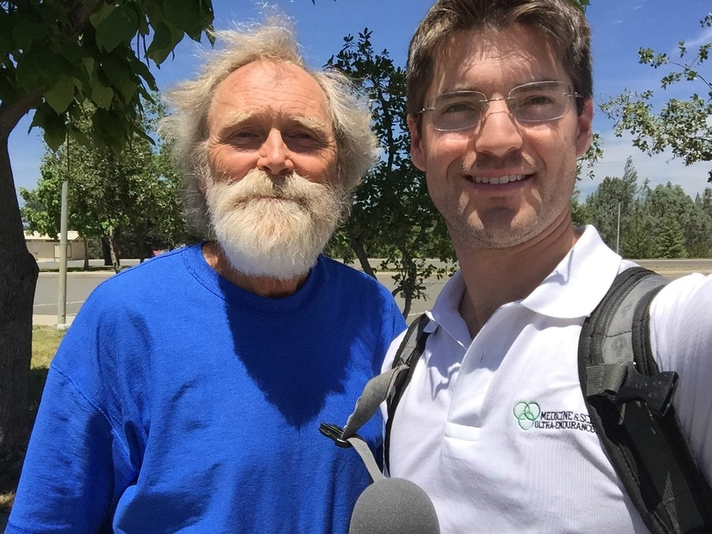 Dr. Gordon Ainsleigh and host, Dr. Nathan Cashion, after the 2015 Western States 100.