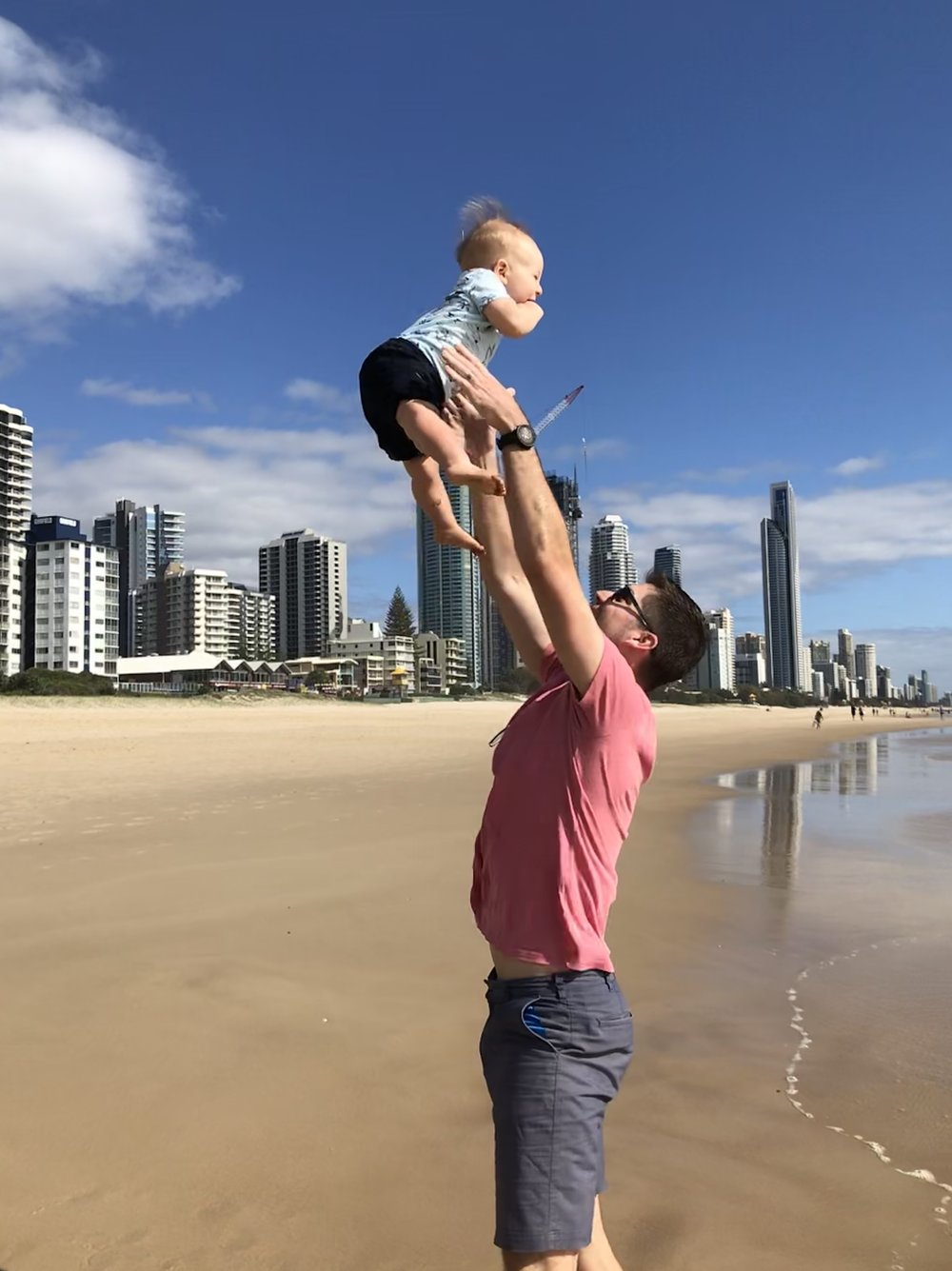 Host, Dr. Cashion, with his son on a recent trip to the Gold Coast, Australia.