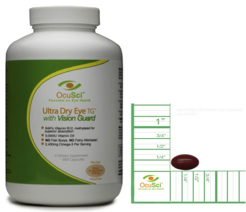 Ultra Dry Eye TG with Vision Guard 15mg Lutein, 3mg Zeaxanthin, 2,430mg Omega-3, 1,500iu Vitamin D, 51mcg Vitamin B12 Improve Dry Eye symptoms in 30 days - money back guarantee! Half-size softgels, 50% smaller than standard fish oil softgels. No fish burps or after taste guaranteed! Includes the highest absorbable forms of both Vitamin D3 and B12 (methylated for superior absorption) shown to decrease your risk of developing Macular Degeneration and Cataracts. More Information: Supplement Facts Reduces Risk of Macular Degeneration, Cataracts Order Now $46/month - 2 Month Supply  one-time purchase AutoShip & Save Free shipping, change or cancel any time. $44.80/month, Save 7% - 4 Month Supply $42.00/month, Save 13% - 6 Month Supply $38.6/month, Save 20% - 12 Month Supply Call 1-888-809-6424 to purchase by phone.