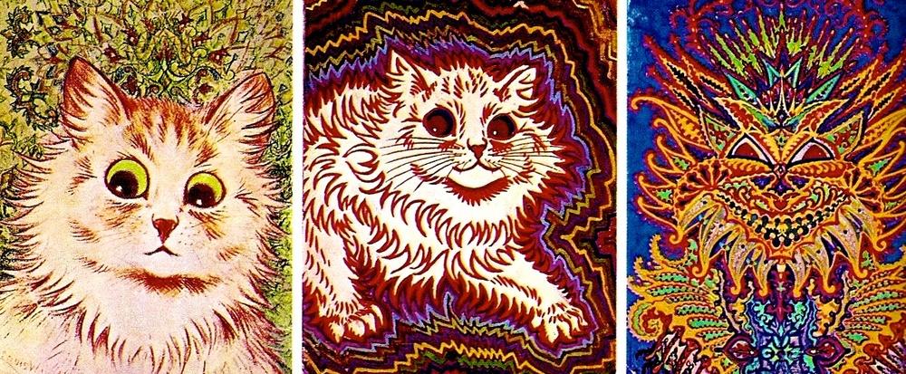 Estos gatos son obra de Luis Wain, un ilustrador inglés diagnosticado esquizofrénico. Se puede apreciar la evolución del artista.