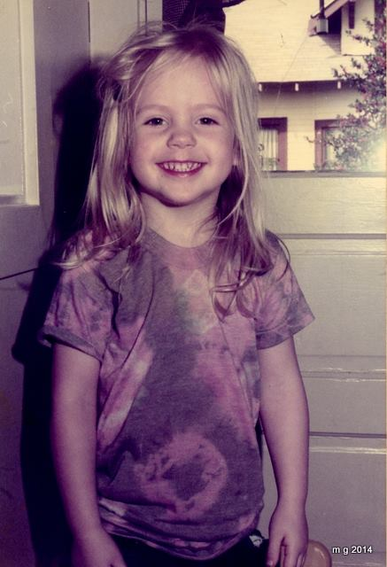 Me as a kid, in the Montavilla neighborhood, wearing a tie-die my dad and I made together. Photo by Mike Grover.