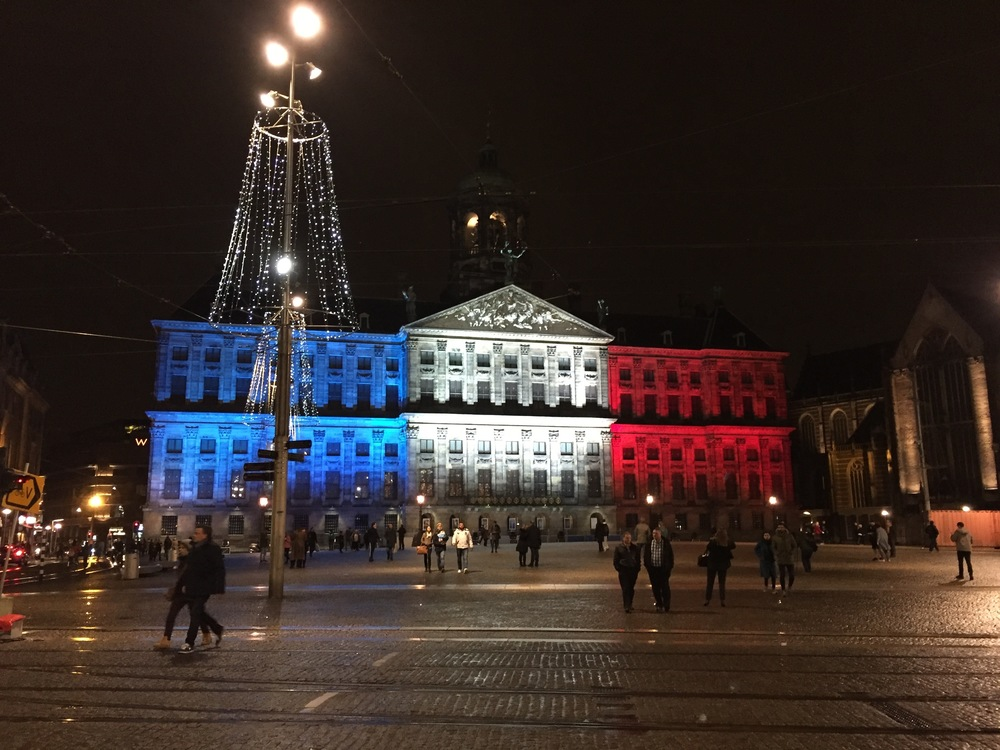 Amsterdam Royal Palace lit after Paris attacks in November.
