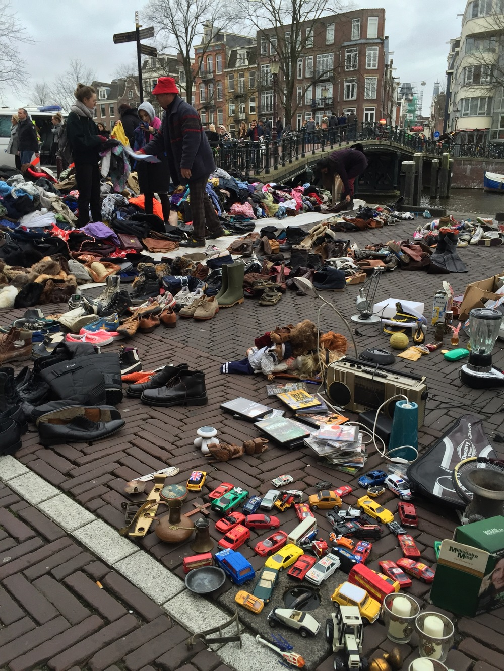 Waterlooplein vendor. Ten meters from police line, just off camera to the left.