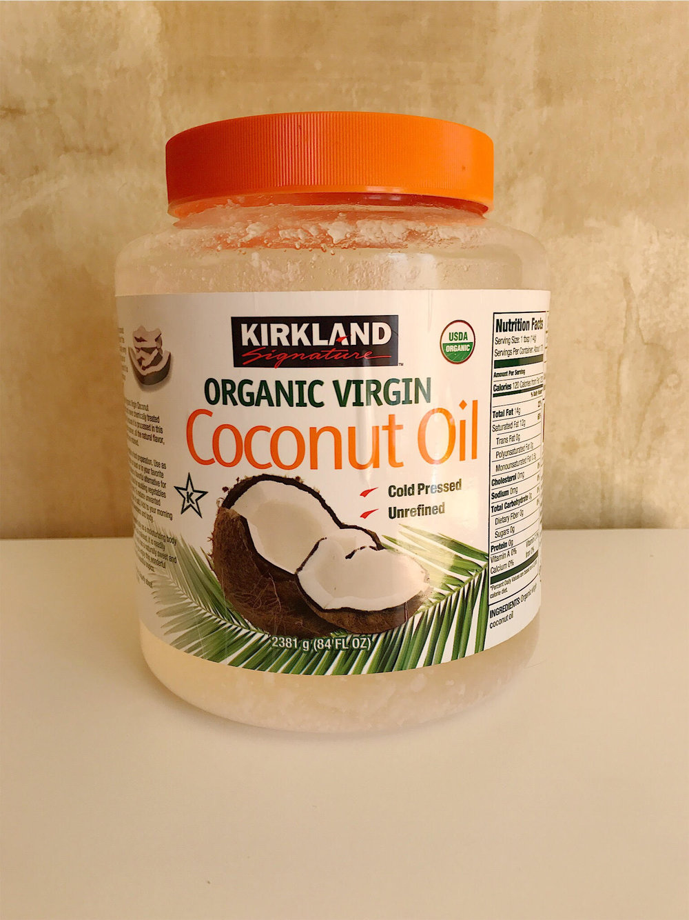 Almost empty coconut oil container.  I'll probably restock once it's gone.