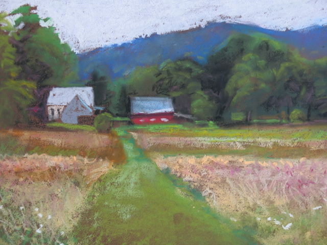 Pastel of Farmhouse and barn by Heather Barros