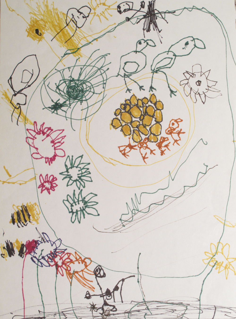 And finally, there is the drawing she made of the two of us in our backyard: a bottlebrush tree, the bees, the sun, a spider in its web, the flowers, a bird with babies in the nest, and her mother below with the watering can. She's at the top tending to the hatching eggs.
