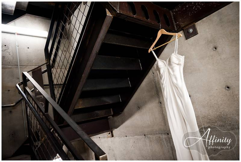 Dress hanging in stairwell
