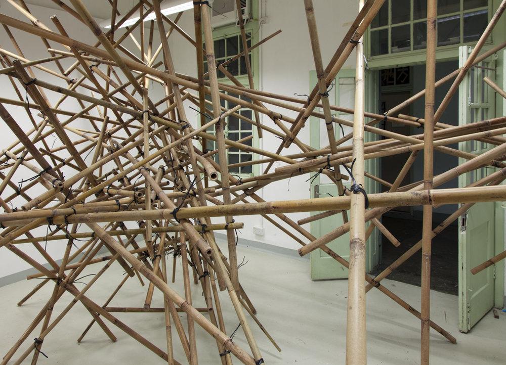 Explosion 2016;   bamboo poles, string; Kaitak / Hong Kong