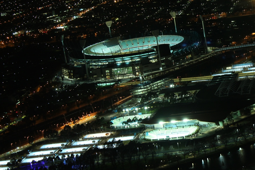 Sports venues around Melbourne are brightly lit every night - sometimes even when they are empty. Photo: Anne Aulsebrook