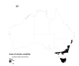 The potential climatic range of the Tasmanian devil. Source: based on Hunter et al. (2015)