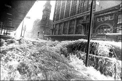 Journalist Neville Bowler's iconic photo of the Elizabeth Street flood. Image: Neville Bowler