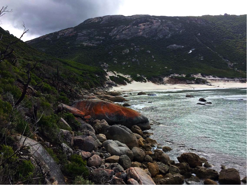 Bright orange granite boulders, Little Oberon Bay.  Image: Lauren Hall