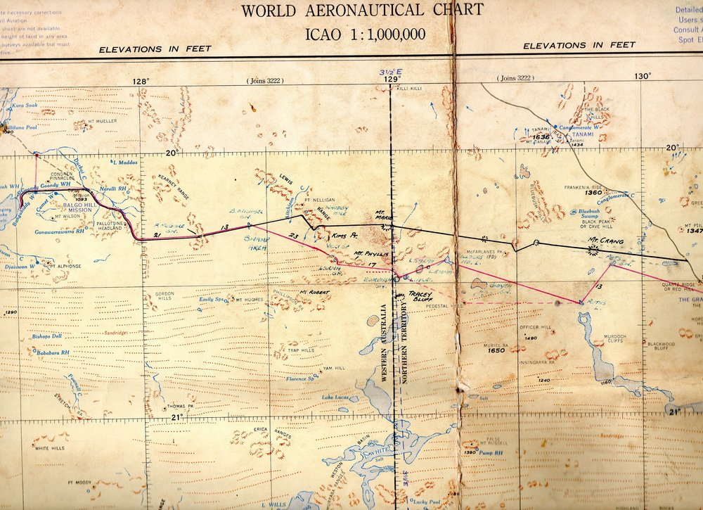 World aeronautical chart, ICAO 1:1,000,000 series, compiled and drawn by Division of National Mapping, Canberra ACT, 1960. Routes of 1962 Tanami stock route expedition drawn by Joe Mahood.